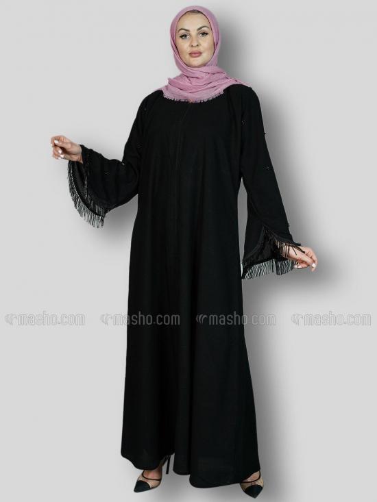 Korean Masha Crepe Free Size Abaya With Pearl Work And Crystal Pipe Work On Sleeve In Black