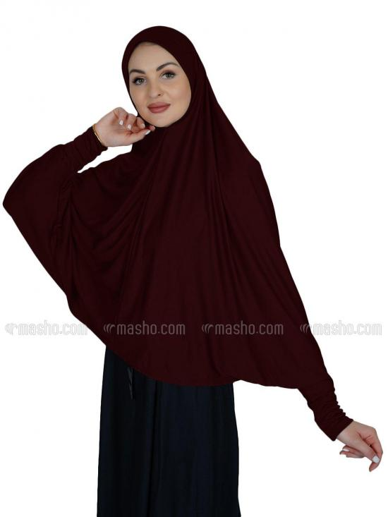 Farashah Instant Hijabs With Sleeve In Maroon