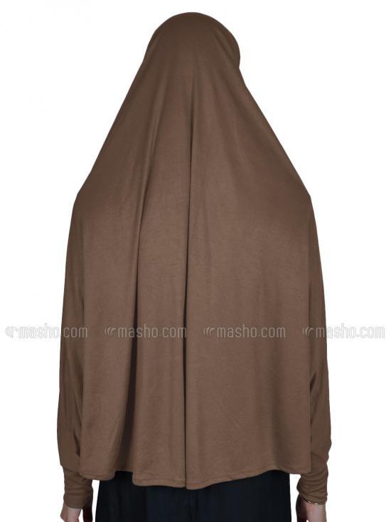 Farashah Instant Hijabs With Sleeve In Dark Beige