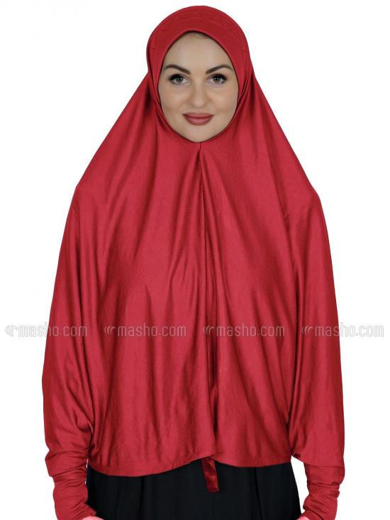Farashah Instant Hijabs With Sleeve In Red