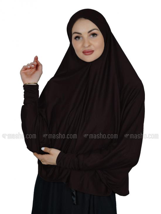 Combo Farashah Instant Hijabs With Sleeve In Coffee And Ash