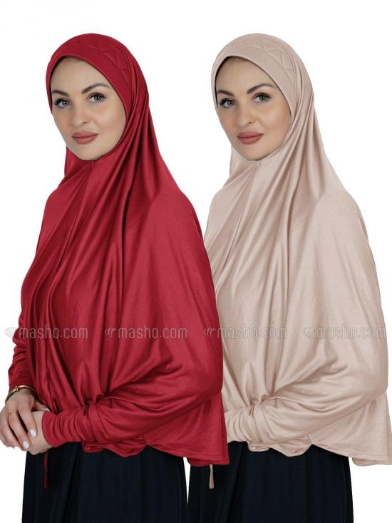 Combo Farashah Instant Hijabs With Sleeve In Red And Cream