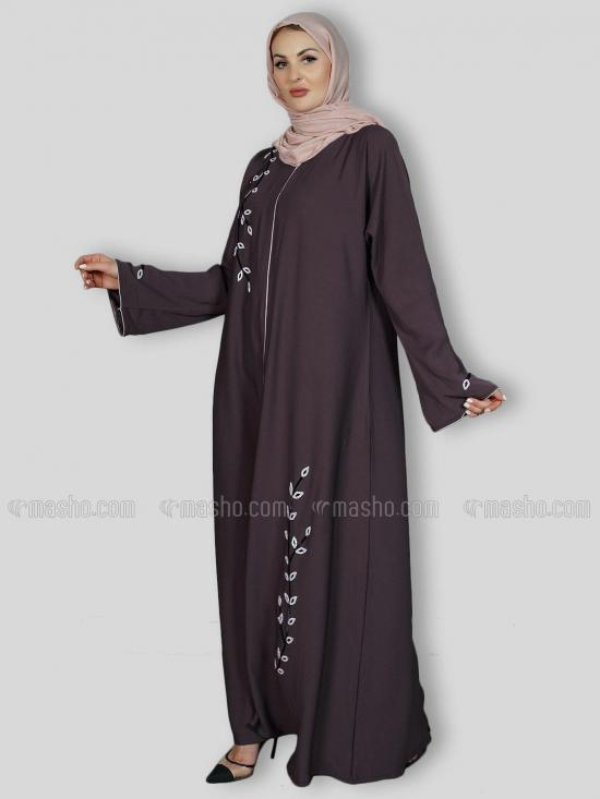 Korean Zoom Simple Free Size Abaya With Crystal Hand Work And Piping Work In Coffee