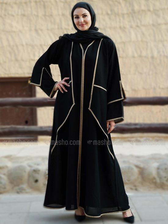 Korean Masha Crepe Free Size Abaya With Attached Shrug And Doble Layer Sleeve in Black And Beige