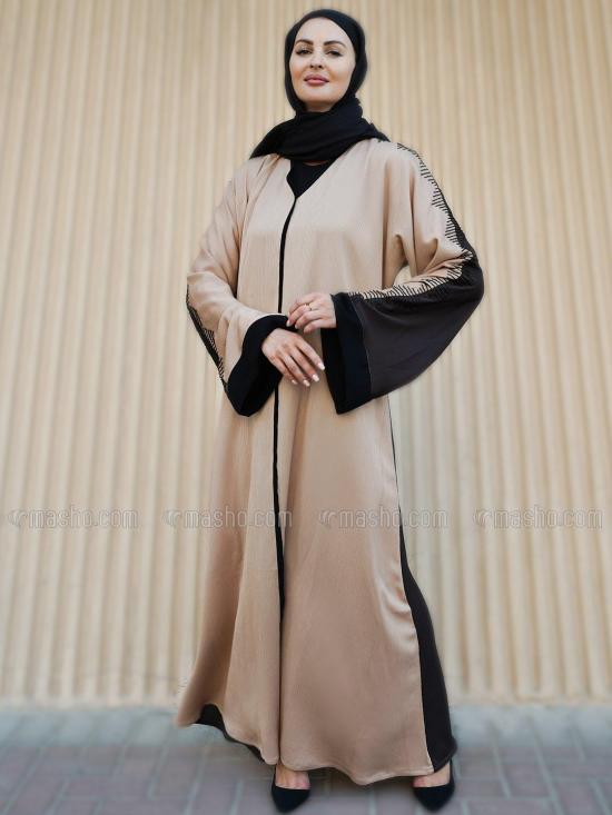 Indonesian Zoom Free Size Abaya With Crystal Hand Work On Sleeves In Beige And Coffee Brown