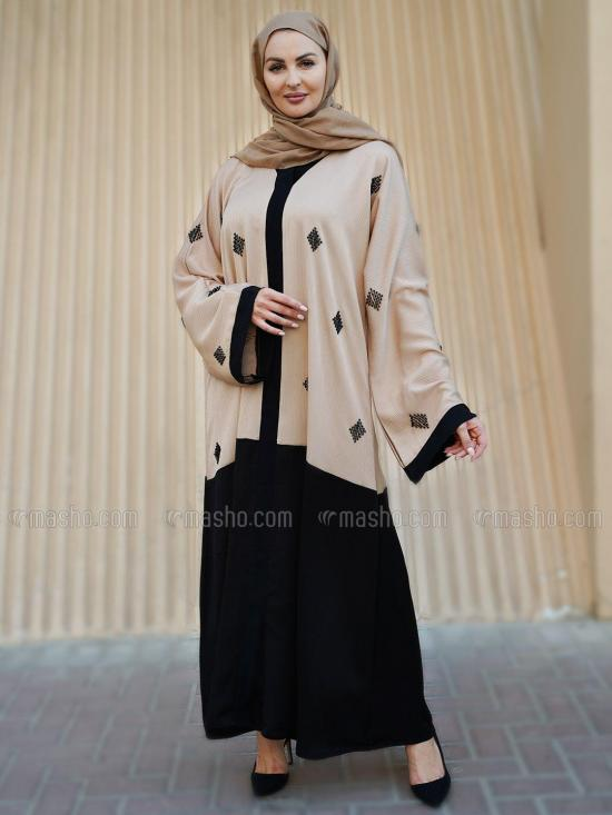 Korean Zoom Free Size Abaya With Crystal Hand Work Front And Sleeves In Black And Beige