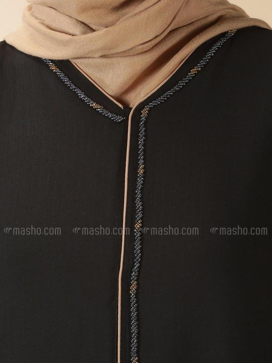 Thoshi Simple Free Size Abaya With Beads Hand Work On Front And Sleeve In Black