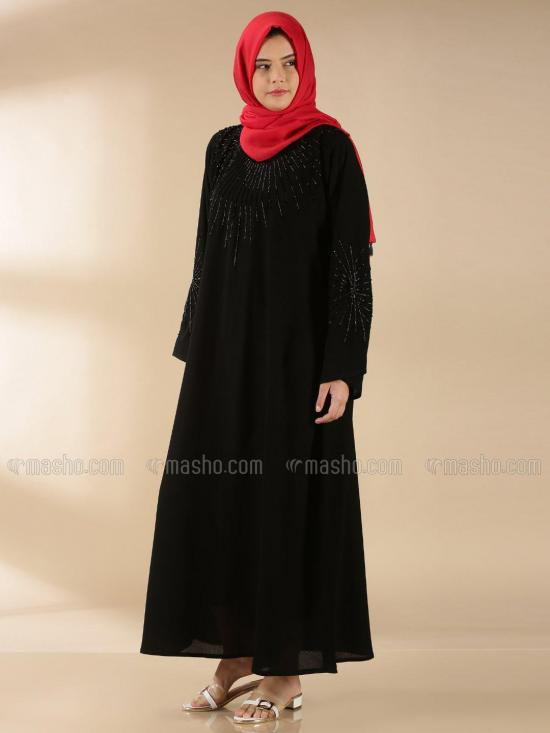 Korean Masha Crepe Free Size Abaya With Hand Work In Black