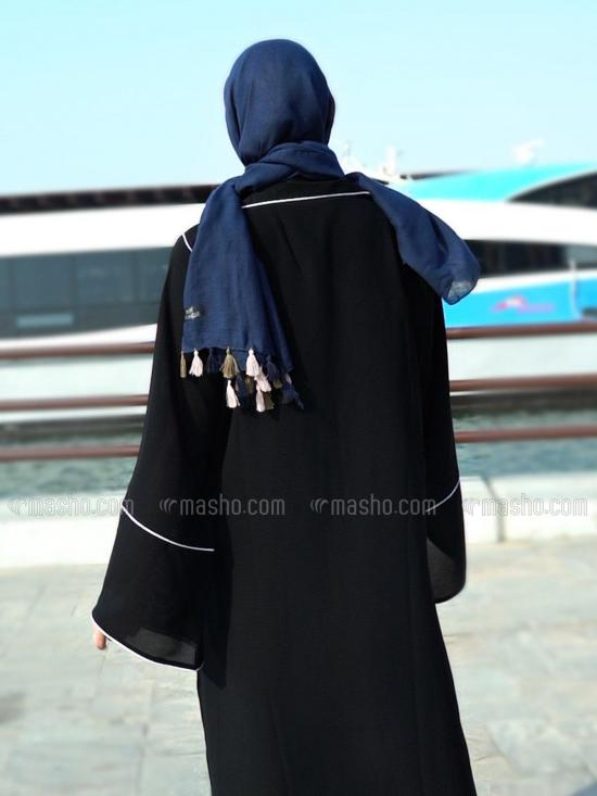 Korean Masha Crepe Free Size Trench Coat Abaya With Piping And Show Button On Sleeves In Black