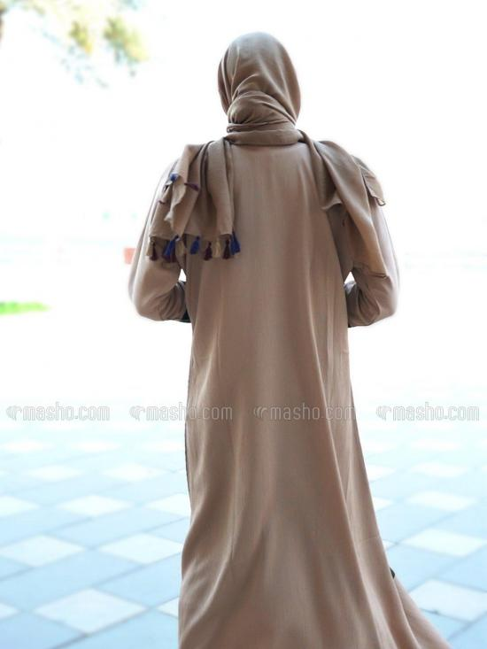 Indonesian Zoom Free Size Front Open Abaya With Show Button On Front And Sleeve In Olive And Beige