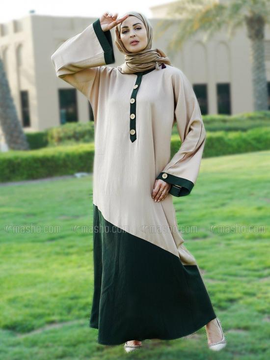 Indonesian Zoom Simple Free Size Abaya With Show Button On Front And Sleeve In Beige And Olive