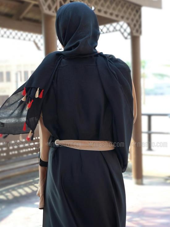 Nida Matte Simple Free Size Abaya With Attached Belt With Show Button On Bell Sleeve In Black And Beige