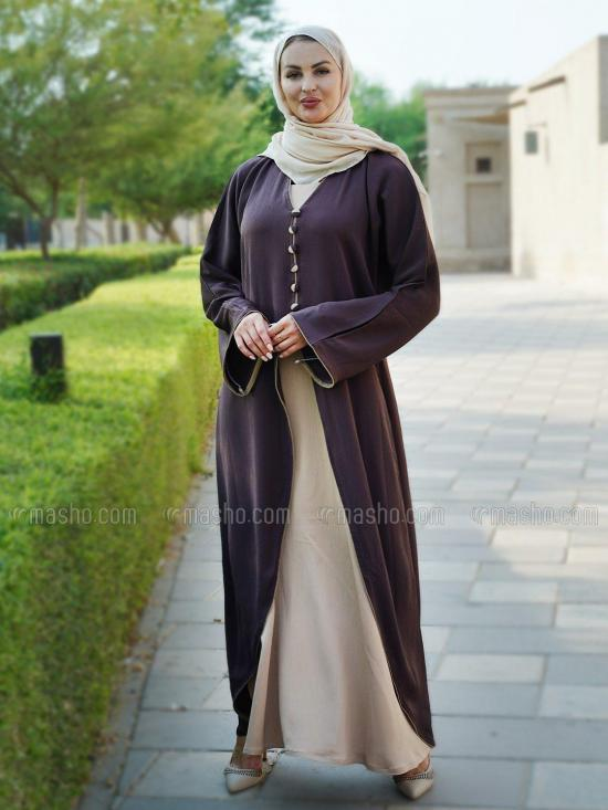 Indonesian Zoom Simple Free Size Attached Shrug Abaya With Piping And Show Button On Front In Coffee And Beige