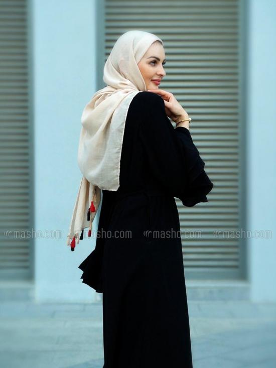 Nida Matte Simple Free Size Abaya With Layer Sleeve And Attached Belt On Front In Black