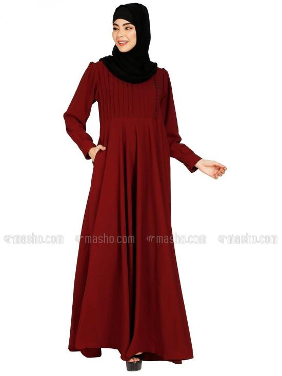 Nida Matte Umbrella Abaya With Show Buttons On Front With Complementary Hijab In Maroon