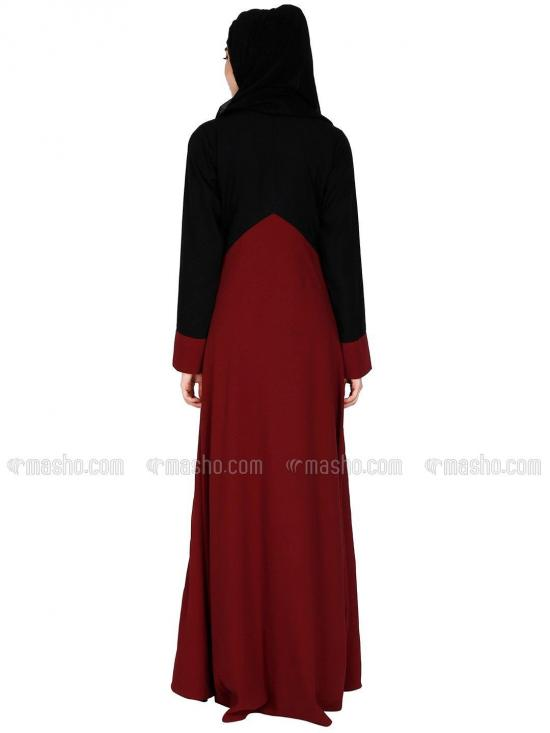 Nida Matte And Georgette Umbrella Abaya With Zipper On Chest With Complementary Hijab In Maroon And Black