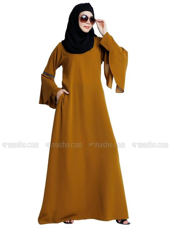Nida Matte Abaya With Stone Work On Sleeve With Complementary Hijab In Mustard