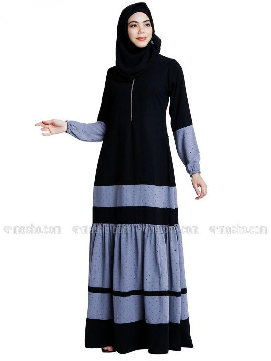 Nida Matte Abaya With Polka Dotted Frill With Complementary Hijab In Black And Grey