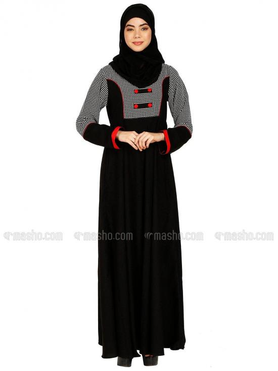 Nida Matte And Georgette Umbrella Abaya With Fashionable Buttons On Front And Complementary Hijab In Black And Red