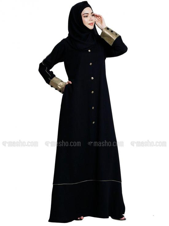Nida Matte And Georgette Abaya With Piping And Show Button On Front And Sleeve With Complementary Hijab In Black