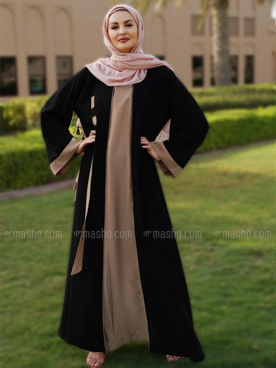 Nida Matte Simple Free Size Abaya With Masha Crepe Attached Shrug In Black And Dark Beige