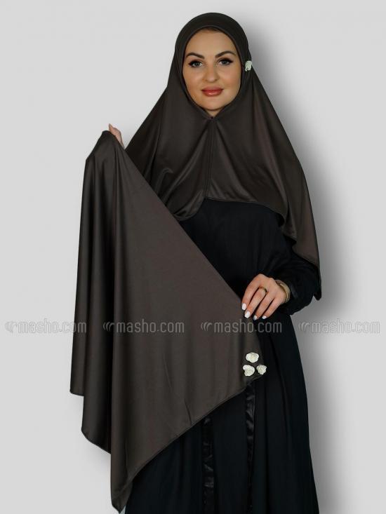 Aqsa Soft Knitted Lycra Instant Hijab In Dark Grey