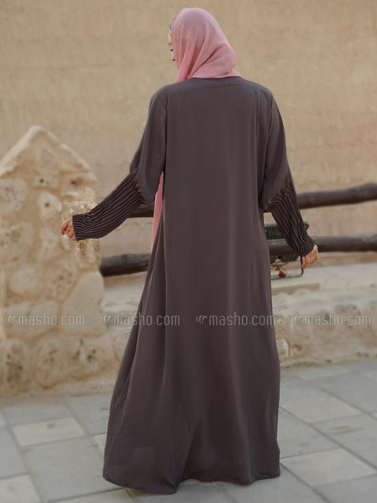 Korean Zoom Simple Free Size Abaya With Crystal Hand Work And Pleat Work On Sleeve In Coffee Brown
