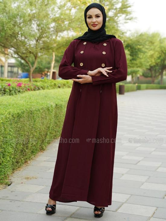 Masha Crep Simple Free Size Abaya With Show Button On Front In Maroon