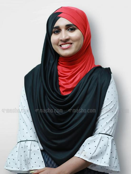Turban Soft Knitted Lycra Double Shaded Instant Hijab In Black And Red