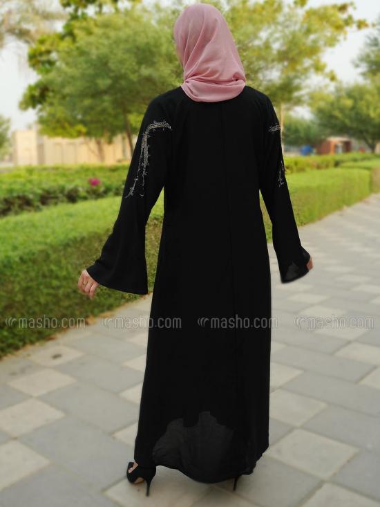 Korean Masha Crepe Free Size Abaya With Crystal Hand Work On Front In Black