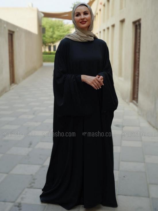 Nida Matte Free Size Farasha With Crsystal Work On Sleeve Bottom In Black