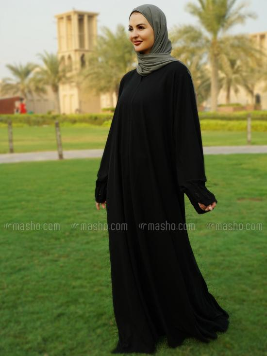 Korean Masha Crepe Simple Free Size Front Open Abaya With Crystal Hand Work On Sleeve in Black