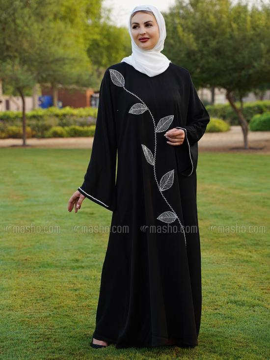 Korean Zoom Free Size Abaya With White Crystal Hand Work On Front And Sleeve In Black