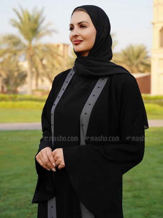 Korean Masha Crepe Free Size Attached Shrug Abaya With Black Pearl Work On Front With Pleat Work On Bottom In Black And Ash