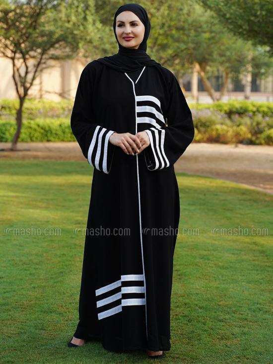Korean Masha Crepe Free Size Abaya With White Piping And Line Work On Front And Sleeve In Black