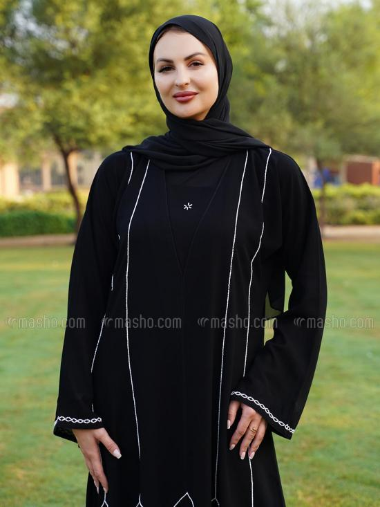 Korean Masha Crepe Free Size Abaya With White Crystal Hand Work On Front And Sleeve In Black