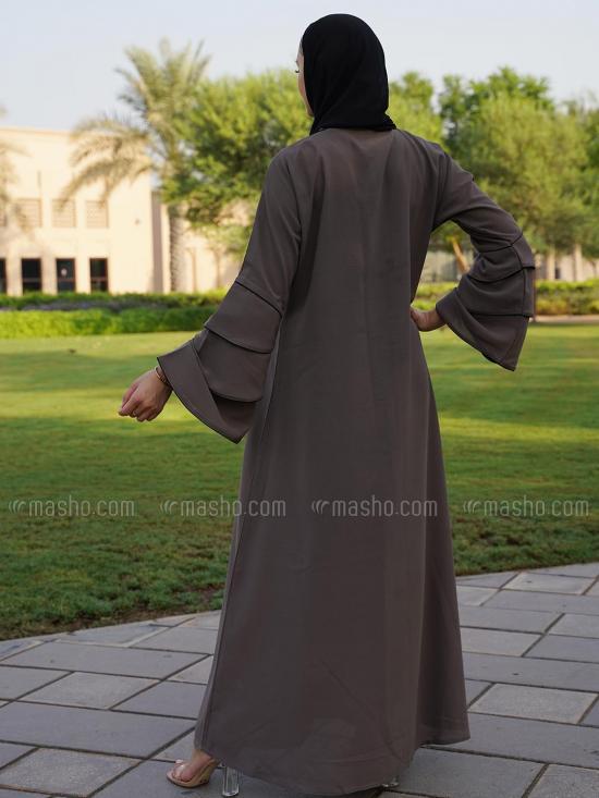 Korean Masha Crepe Simple Free Size Abaya With Piping And Three Layer Sleeve In Dark Ash