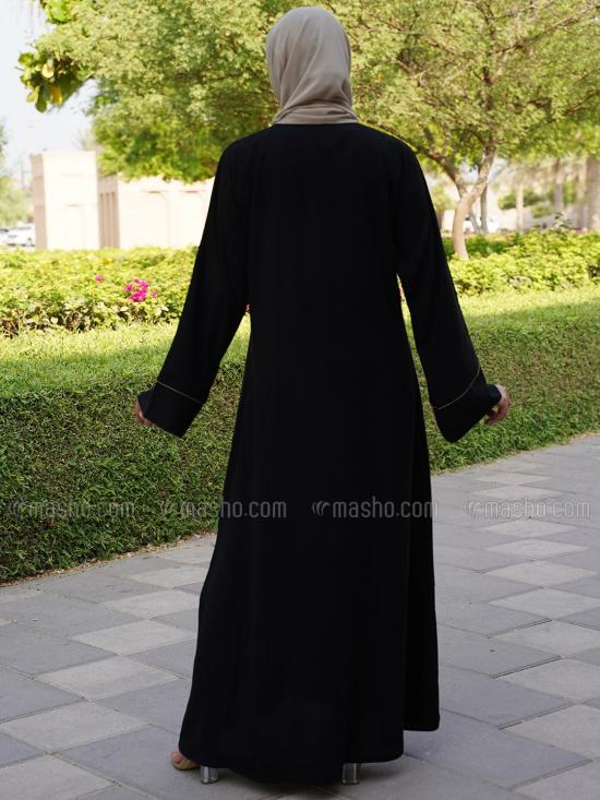 Korean Masha Crepe Free Size Abaya With Piping Work On Front And Sleeve In Black