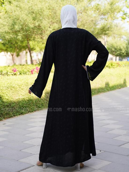 Korean Masha Crepe Printed Free Size Abaya With Piping Work On Front And Sleeve In Black And White
