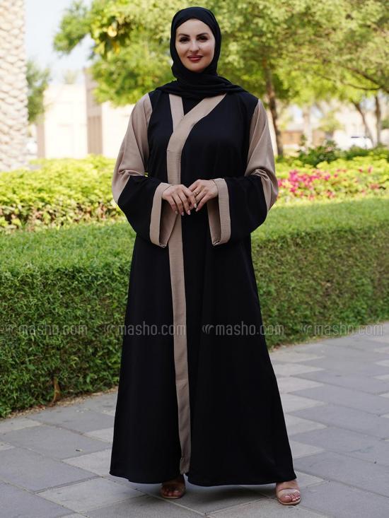 Korean Masha Crepe Free Size Abaya In Black And Beige