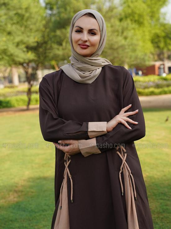 Korean Masha Crepe Free Size Abaya With Loopi Work On Front With Kaff Sleeve In Brown And Beige