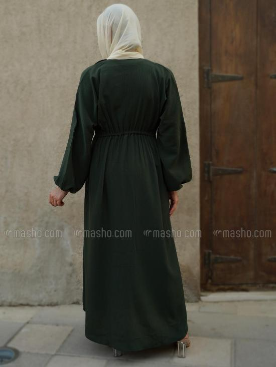 Indonesian Zoom Simple Free Size Abaya With Show Button On Front With Elastic Waist In Olive