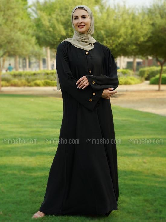 Nida Matte Free Size Abaya With Show Button On Front And Sleeve In Black
