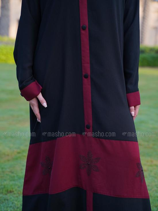 Korean Masha Crepe Free Size Abaya With Glass Stone Work And Show Button In Maroon And Black